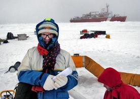 Graduate student Mengnan Zhao, shown here on an ice floe in the Arctic Circle.